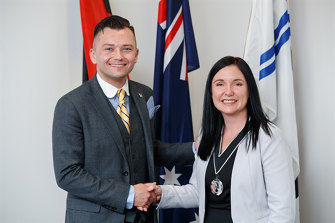 Hume councillor Naim Kurt and Mayor Carly Moore. Cr Kurt is taking a leave of absence from his council duties.
