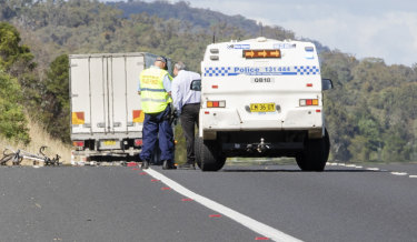 A cyclist has died after being hit by a truck on Federal Highway, going towards Canberra.