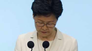 Carrie Lam, Hong Kong's chief executive, attends a news conference in Hong Kong, China, on Tuesday, June 18, 2019. Lam sought to defuse protests that have rocked the city without stepping down or officially withdrawing a bill that would allow extraditions to China for the first time.