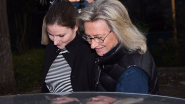Harriet Wran leaves Silverwater Correctional Centre, accompanied by her mother Jill Hickson Wran.