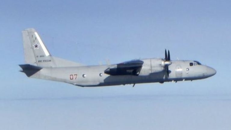 A Russian Antonov An-26 transport aircraft.