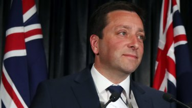 Matthew Guy announces defeat in the Victorian state election on Saturday.
