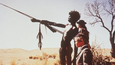 Breakthrough film: David Gulpilil with Jenny Agutter and Lucien John in Walkabout.