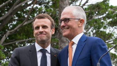 Malcolm Turnbull and Emmanuel Macron at the end of a press conference at Kirribilli House in 2018.