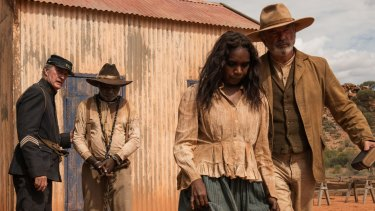 Bryan Brown, Hamilton Morris, Natassia Gorey-Furber and Sam Neill in Warwick Thornton's Sweet Country.
