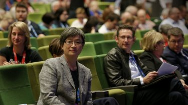 Labor senator Penny Wong on the floor of the party's 2015 national conference.