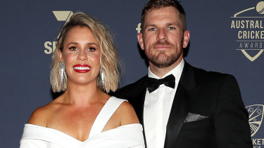 Aaron Finch with wife Amy at the Australian Cricket Awards