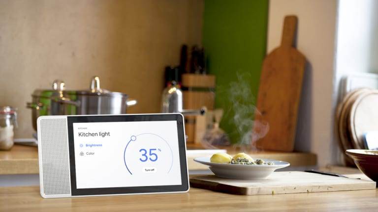 You can use your voice or touch the screen to take control of your smart home.