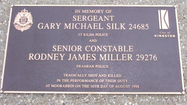 The memorial in Moorabbin to the dead officers.