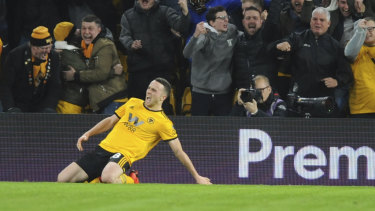 Wolverhampton's Diogo Jota celebrates after scoring Wolves' second goal.