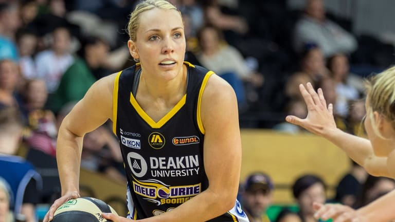 Pushing on: Boomer Maddie Garrick played her 201st match in Townsville.