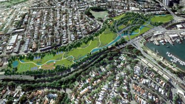 An artist's impression of the parkland planned to cover the former rail yards at Rozelle, under which a motorway interchange will be built.