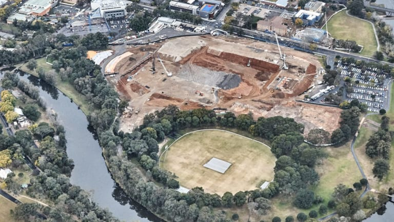 Construction on the 30,000-seat Western Sydney Stadium at Parramatta last year.