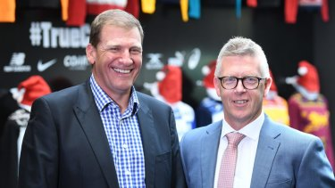 Match review officer Michael Christian with the AFL's footy operations boss Steve Hocking.
