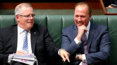 Scott Morrison and Peter Dutton in Question Time in 2016
