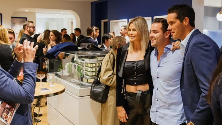 Bachelor in Paradise alumni Megan Marx, Davey Lloyd and Jake Ellis at the launch of The Aristocrat of Rose Bay on Wednesday.