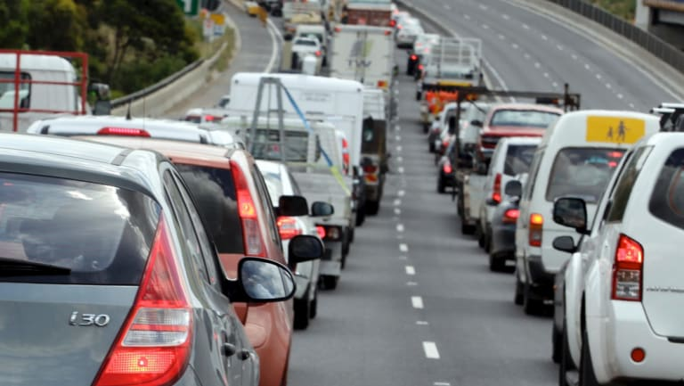 About eight kilometres of northbound delays had formed at the height of the congestion.