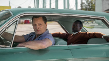 Viggo Mortensen (left) and Mahershala Ali in a scene from <i>Green Book.</i>