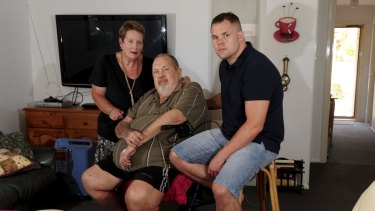 Ben Edwards, with his parents, June and Ray, at their Charnwood home in 2015.