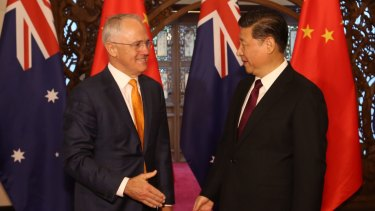 Then prime minister Malcolm Turnbull with Chinese President Xi Jinping at the Diaoyutai State Guesthouse in Beijing, April 2016.