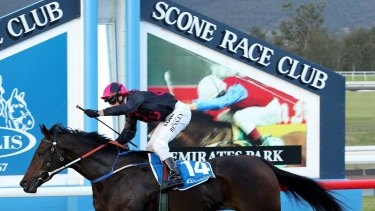 SHD SPORT. Scone Races. Race 7 - the Inglis 3yo Guineas. Pic shows winner Loved Up, ridden by Richard Bensley, crossing the line. Scone Race Club, Scone. 16th May 2015. Pic by MAX MASON-HUBERS MMH
