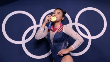 *** BESTPIX *** TOKYO, JAPAN - JULY 29: Sunisa Lee of Team United States poses with her gold medal after winning the Women's All-Around Final on day six of the Tokyo 2020 Olympic Games at Ariake Gymnastics Centre on July 29, 2021 in Tokyo, Japan. (Photo by Laurence Griffiths/Getty Images)