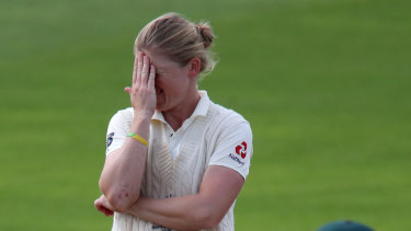 Knight mare scenario: England captain Heather Knight shows her frustration as Australia bat on to draw the Test.