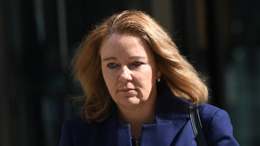 Colonial's Linda Elkins leaving the royal commission in Melbourne last week.