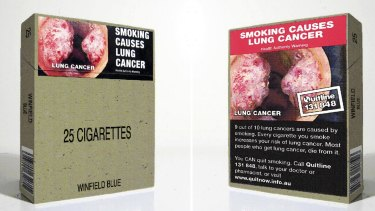 Cigarette packets carry graphic health warnings.