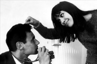 French New Wave duo Anna Karina and Jean-Luc Godard.