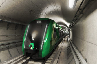 An artists impression of the driverless trains that will run on the Suburban Rail Loop.