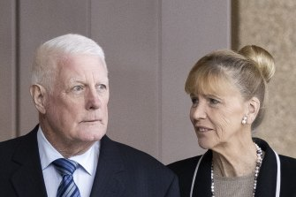 Ben Roberts-Smiths parents, Len and Sue, at the Federal Court in Sydney.