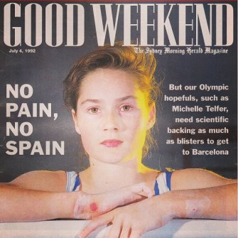 Michelle Telfer on a 1992 cover of Good Weekend magazine. She would go on to represent Australia at that year's Olympic Games.