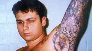 This photo of John William King, showing some of his tattoos, was entered into evidence in Jasper, Texas, in 1999.