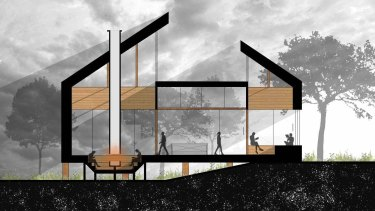 QUT architecture student Jayden Choi's design for a 50-square-metre building.