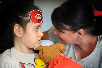 An older photo of Georgie Bennett and her daughter Holly, who has Phelan McDermid Syndrome.