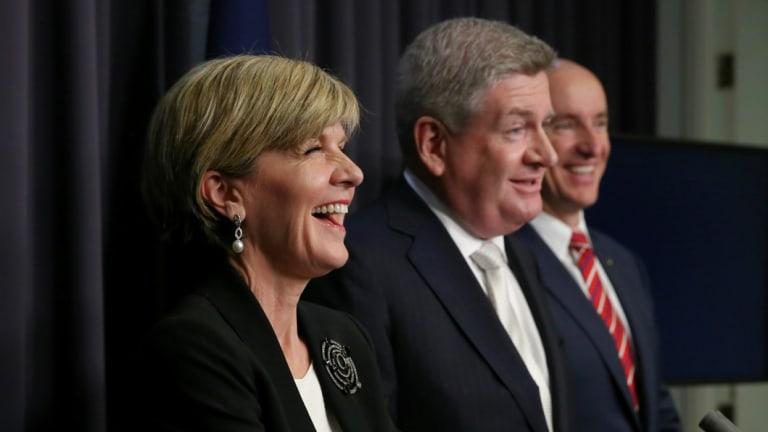Julie Bishop and Victorian Senator Mitch Fifield, October 2015.