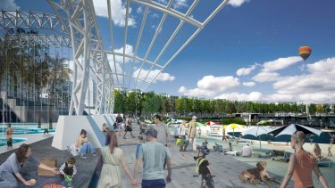 An artist's impression of the West Basin pool and urban beach.