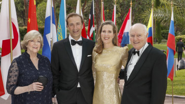 Jo Horgan arrives at the EY World Entrepreneur of the Year awards with her husband and parents.