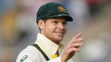 Man of the match Steve Smith reacts after day five of the fourth Ashes Test.