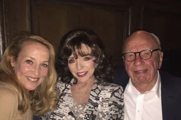 Instagram photo shows Joan Collins with Jerry Hall and Rupert Murdoch in April.