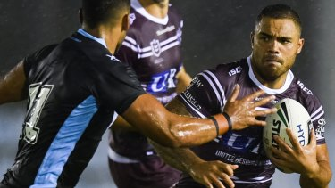 Controversial inclusion: Dylan Walker turned out for Manly despite assault charges hanging over his head.