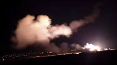 Missiles flying into the sky near Damascus, Syria, on December 25 local time.