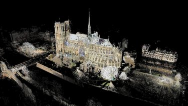 This image provided by Vassar College shows a 3D map of Notre-Dame made by associate art professor Andrew Tallon.