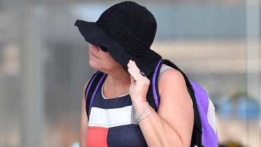 Pauline Thorn, mother of victim Nathan Wiseman, leaves the Brisbane court.