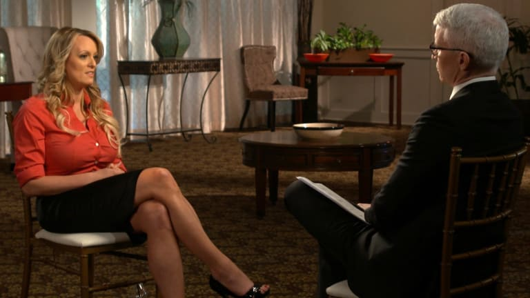 Stormy Daniels during an interview with Anderson Cooper.