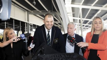 Coach Michael Cheika. The Wallabies return from the Rugby World Cup in Japan arriving at Sydney Airport.