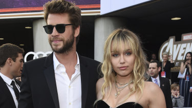 Liam Hemsworth and Miley Cyrus arrive at the premiere of Avengers: Endgame in LA on April 22.