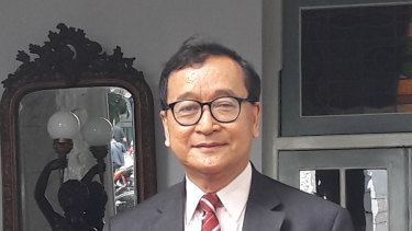 Exiled Cambodian opposition leader Sam Rainsy in Jakarta in April.