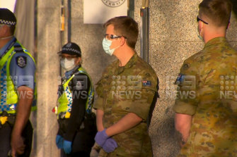 ADF troops outside a Perth hotel on Tuesday.